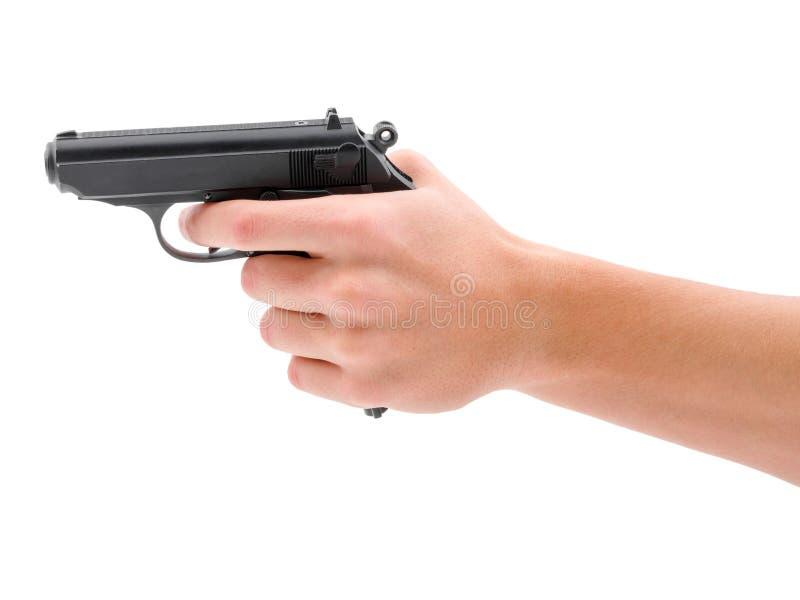 Svart vapenpistol som isoleras på vit bakgrund arkivfoto