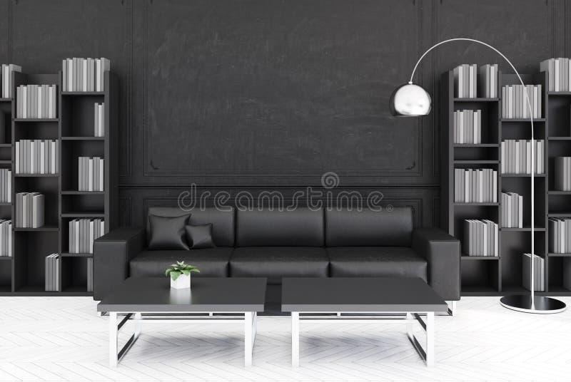 Svart vardagsrum, svart soffa vektor illustrationer