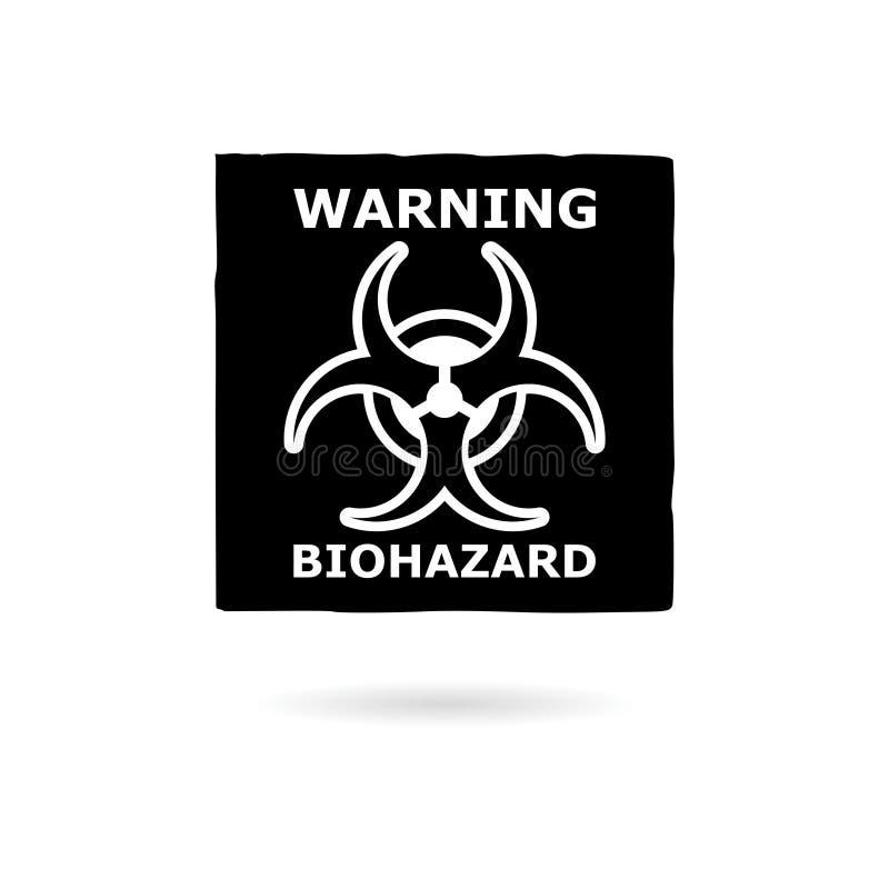 Svart varnande Biohazardtecken, symbol eller logo stock illustrationer