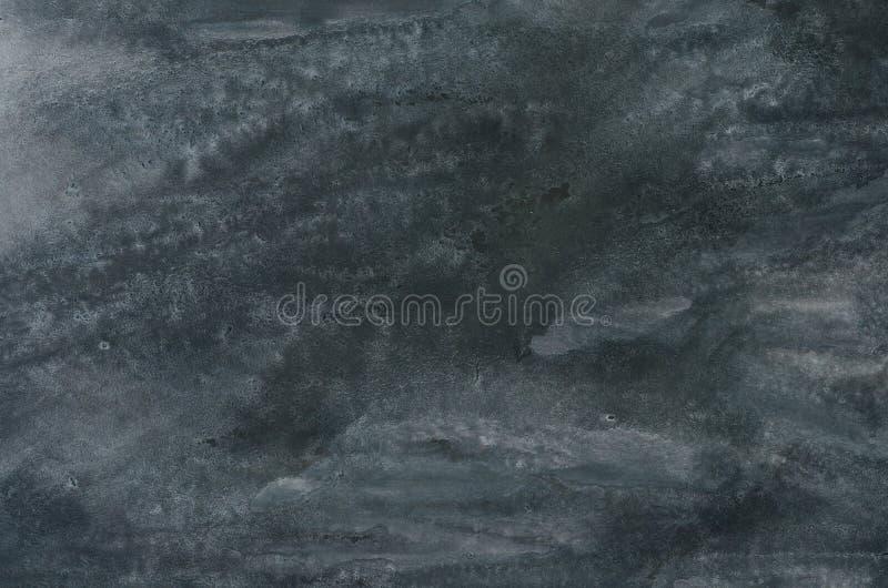 Svart vattenfärg målad bakgrundstextur royaltyfri foto