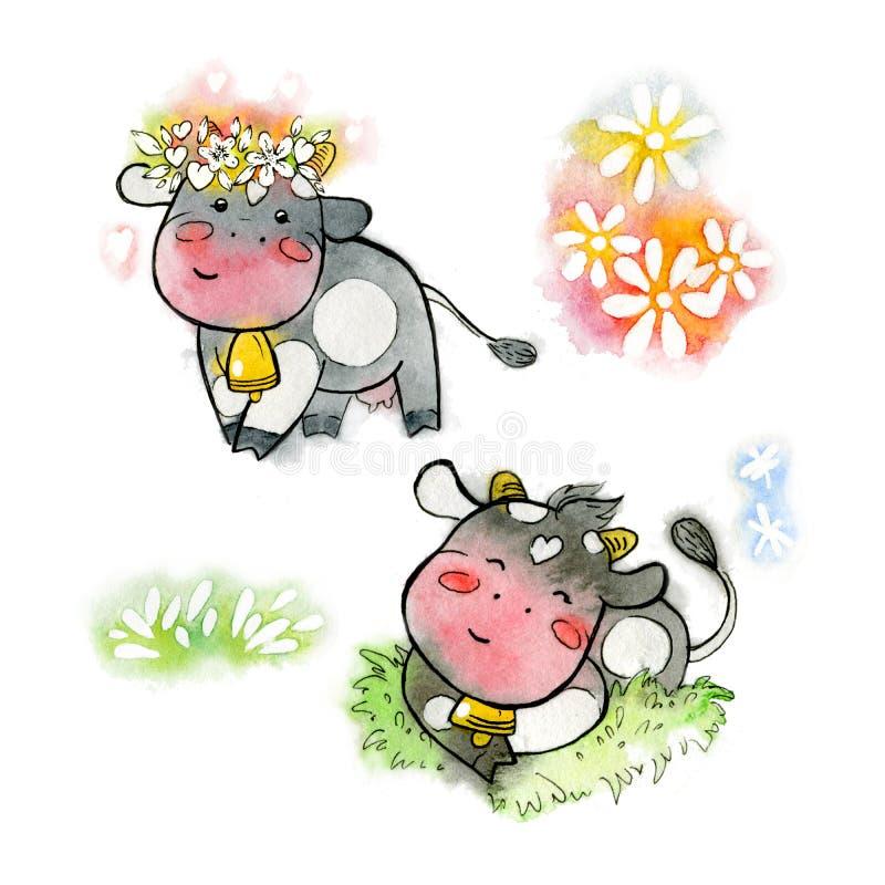 Svart vattenfärgskor Kawaii av lyckliga kor med en krans och i ängen Bearbetad vattenfärg stock illustrationer