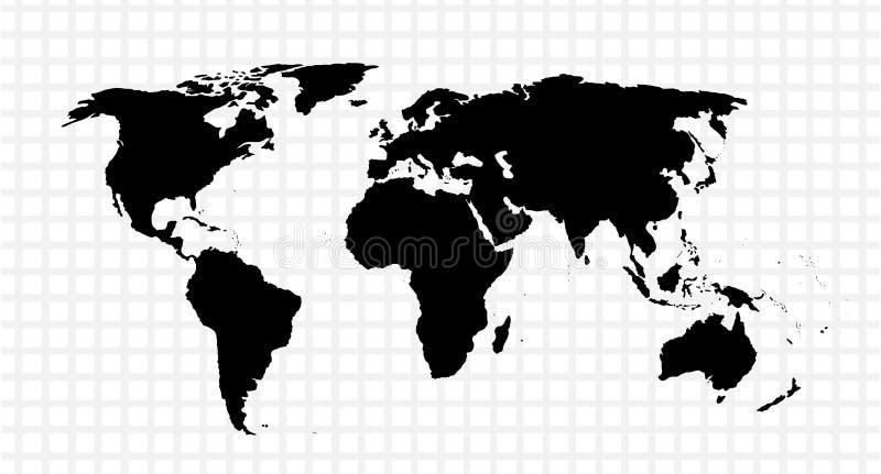 Svart vektoröversikt av världen royaltyfri illustrationer