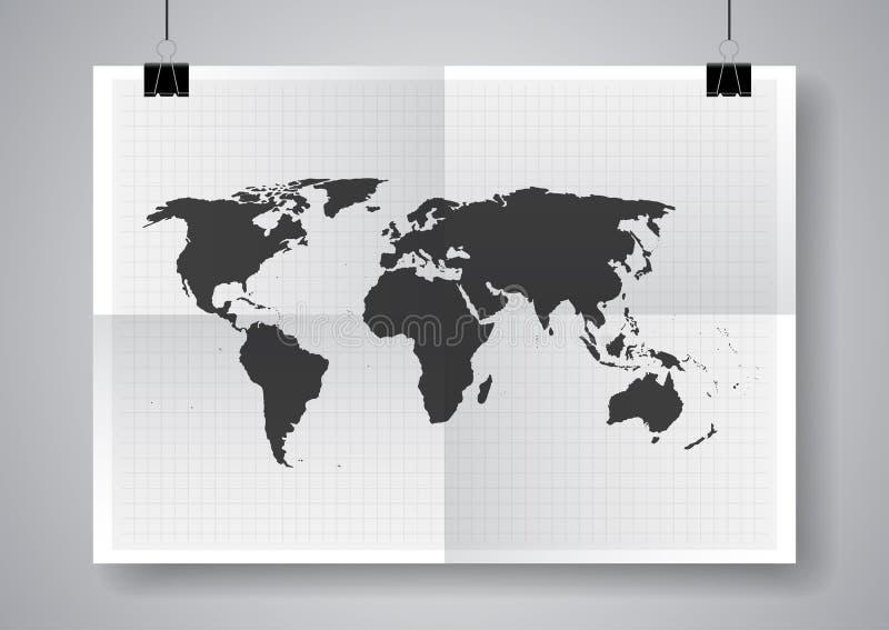 Svart vektoröversikt Två gånger en vikt affisch med klämmor stock illustrationer