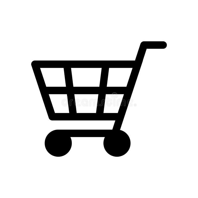 Svart vektor eps10 för symbol för livsmedelsbutikshoppingvagn Plan design eps10 för shoppingvagn stock illustrationer