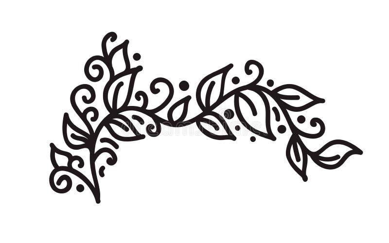 Svart vektor för monogram för monolinekrusidulltappning med sidor och blommor Hörn och avdelare för valentindag royaltyfri illustrationer