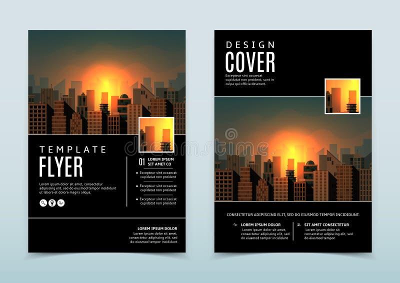 Svart vektordesign av reklambladmallen stock illustrationer