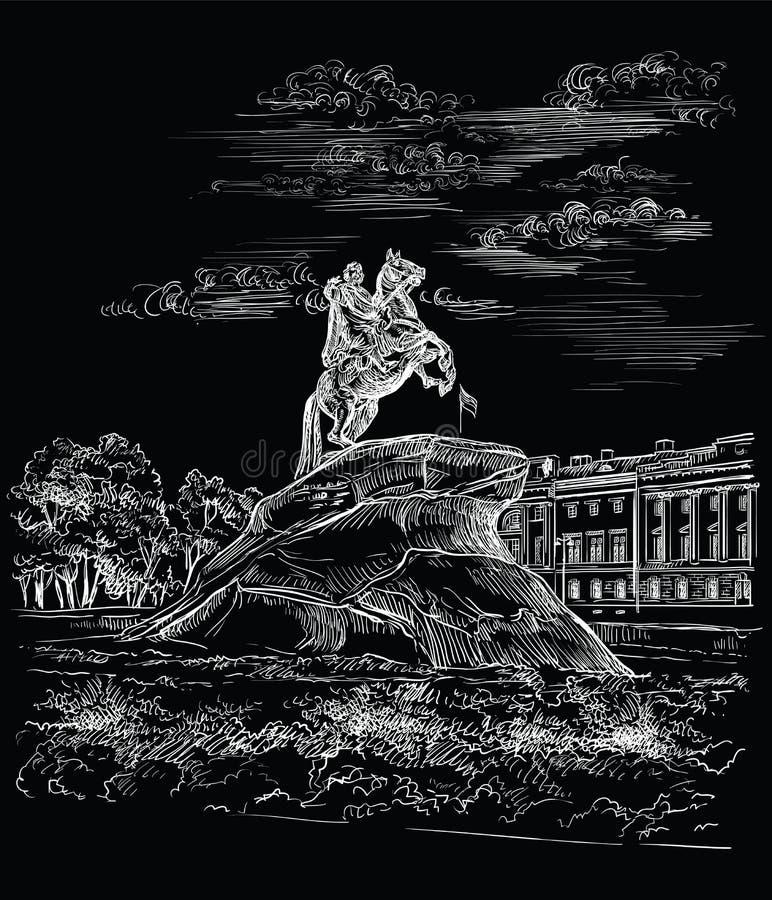 Svart vektorhand som drar St Petersburg 3 stock illustrationer