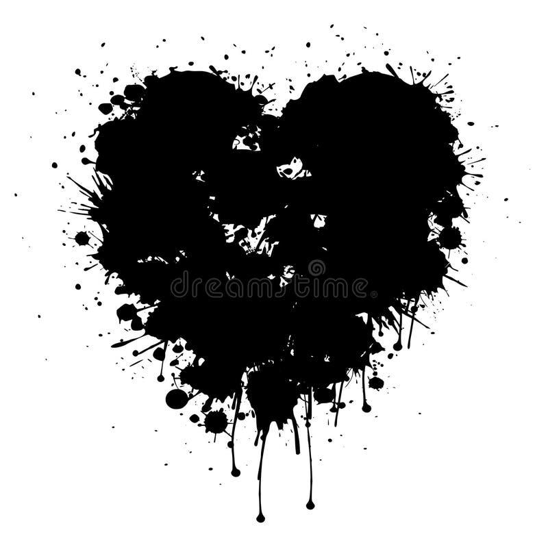 Svart vektorhjärta för Grunge med målarfärgdroppander vektor illustrationer