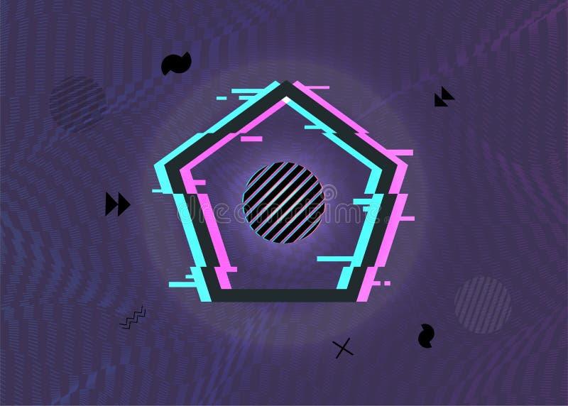 Svart vektorillustration av den minsta geometriska brutna pentagonformramen med tekniskt feleffekter som brending design Modern v royaltyfri illustrationer