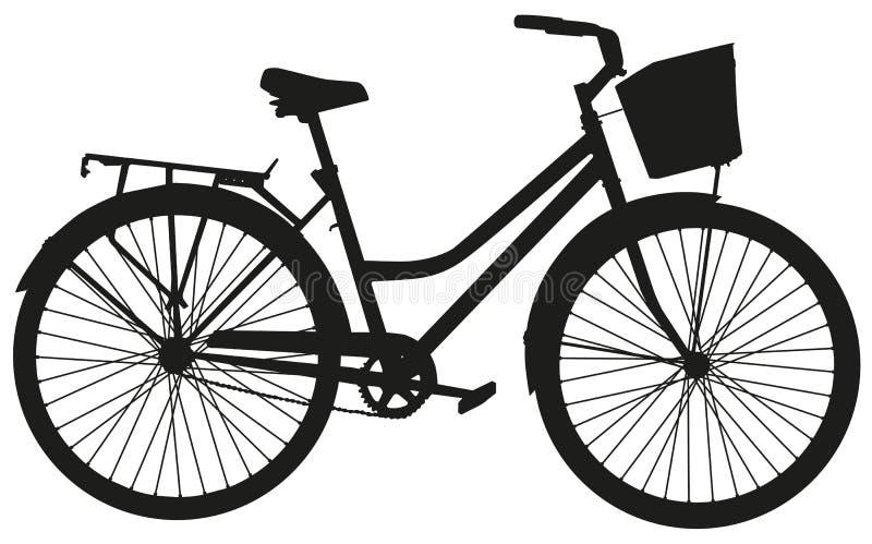 Svart vektorkontur av en cykel med en korg royaltyfri illustrationer