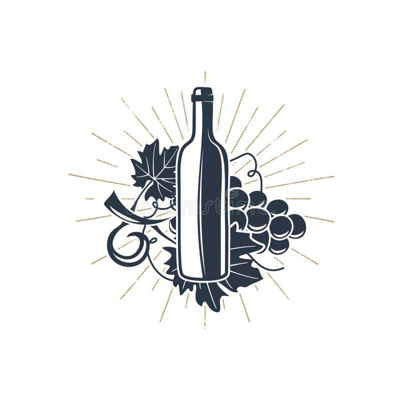 Svart vinflaska och vinranka med sunbursts för vingårdlogo, vinodlingemblem, vinklubba, stång, kafé eller restaurang materiel royaltyfri illustrationer