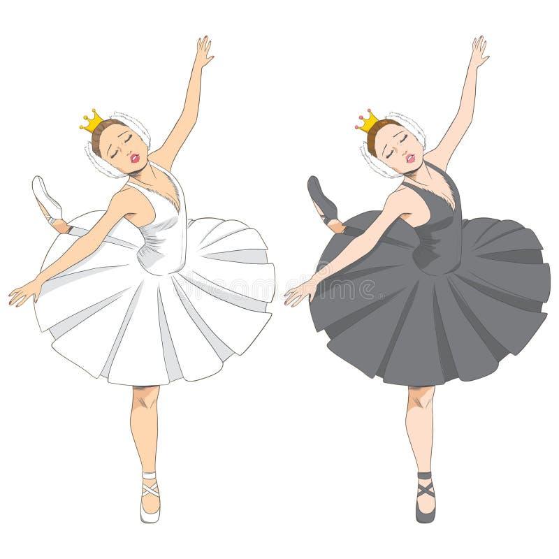 Svart & vit ballerina stock illustrationer
