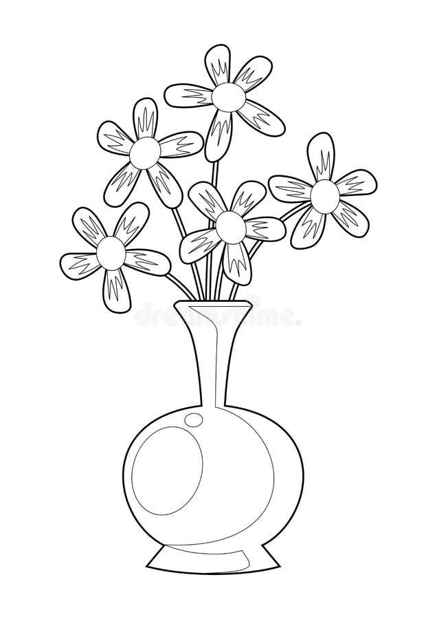 Svart vit blomma- och vasillustrationvektor royaltyfri illustrationer