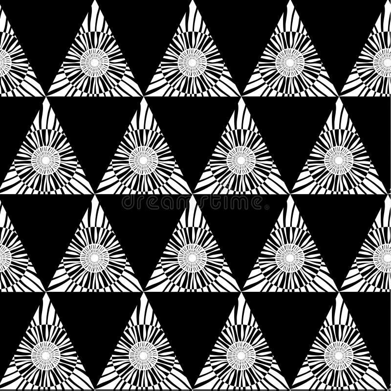 Svart vit geometrisk sömlös modell med triangeln, abstrakt bakgrund, vektor vektor illustrationer