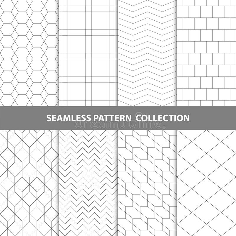 Svart vit klassisk linje samling för design för modell för sicksackvektorabstrakt begrepp geometrisk sömlös royaltyfri illustrationer