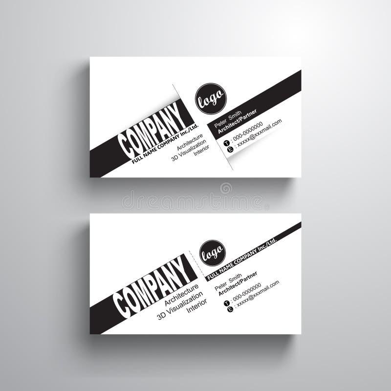 Svart vit mall för känt kort för designtypografi, affärskort, minimalist stil, vektor royaltyfri illustrationer