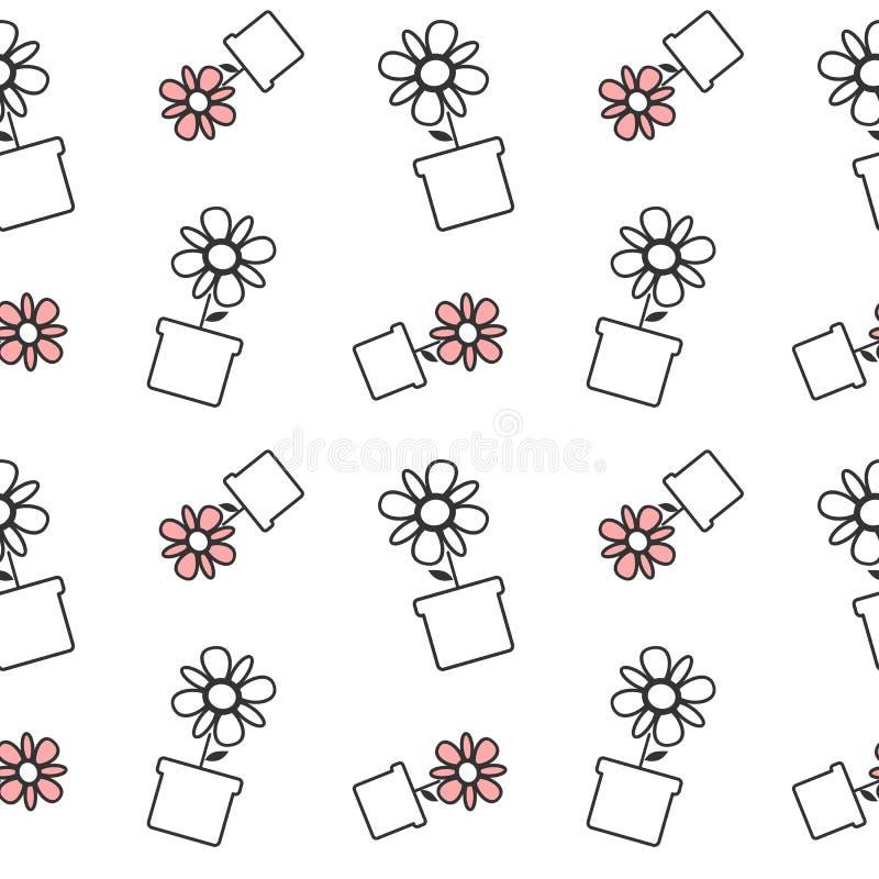 Svart vit och den röda tusenskönan blommar i för modellbakgrund för kruka en sömlös illustration royaltyfri illustrationer