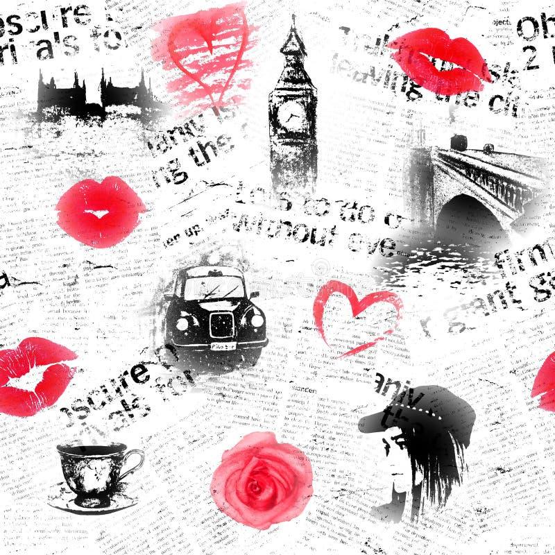 Svart vit och röd London bakgrund royaltyfri illustrationer
