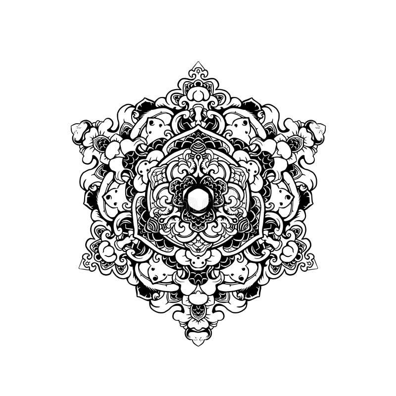 SVART VIT PRYDNADMANDALA royaltyfri illustrationer