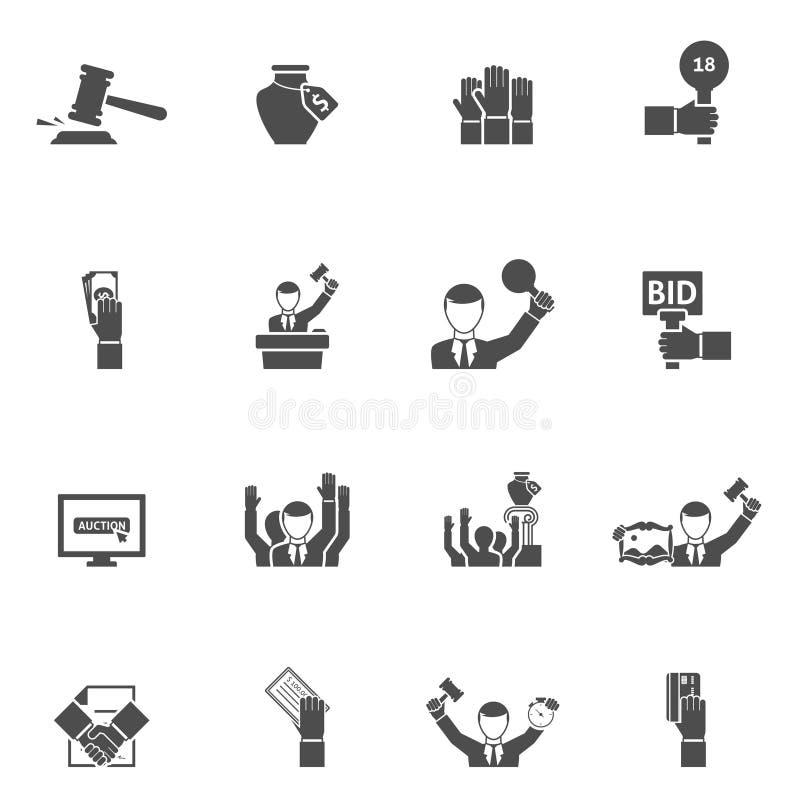 Svart vit symbolsuppsättning för auktion royaltyfri illustrationer
