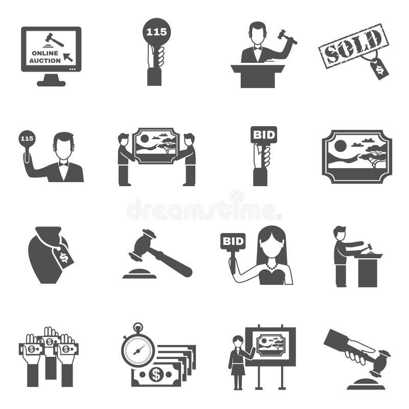 Svart vit symbolsuppsättning för auktion vektor illustrationer