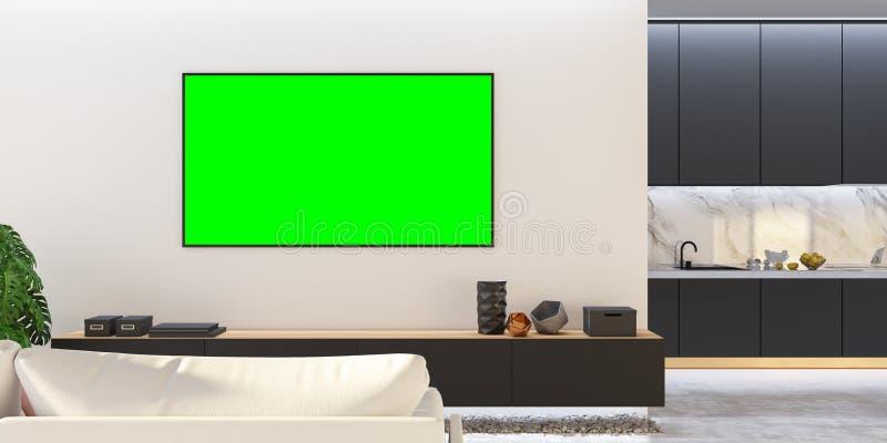 Svart vit vardagsrumTVåtlöje upp med soffan, kök, konsol royaltyfri illustrationer