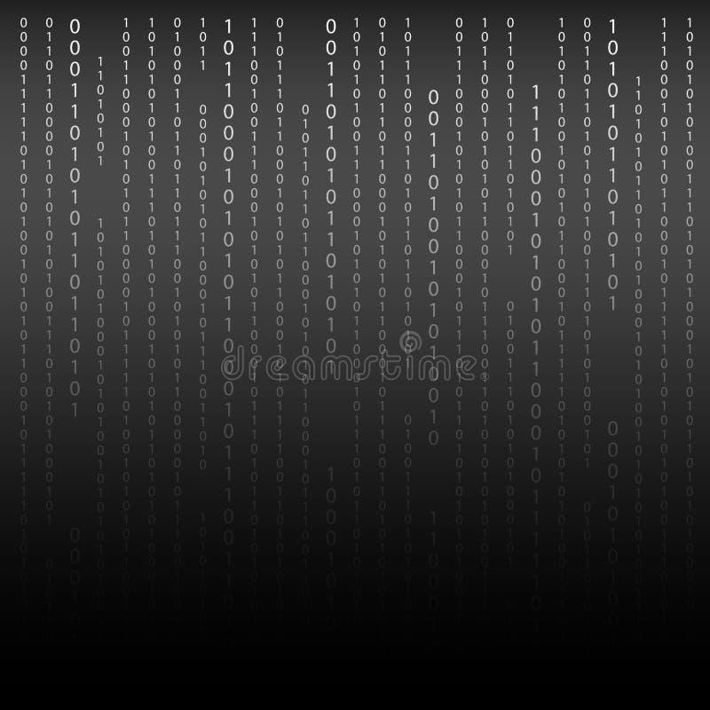 svart white Binär kod för algoritm med siffror på bakgrund stock illustrationer