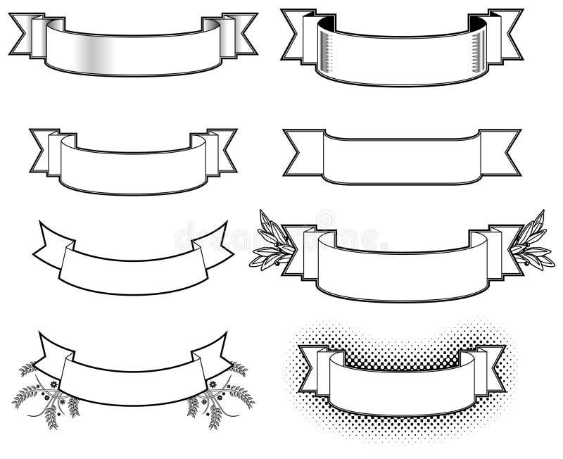 svart white för baner stock illustrationer