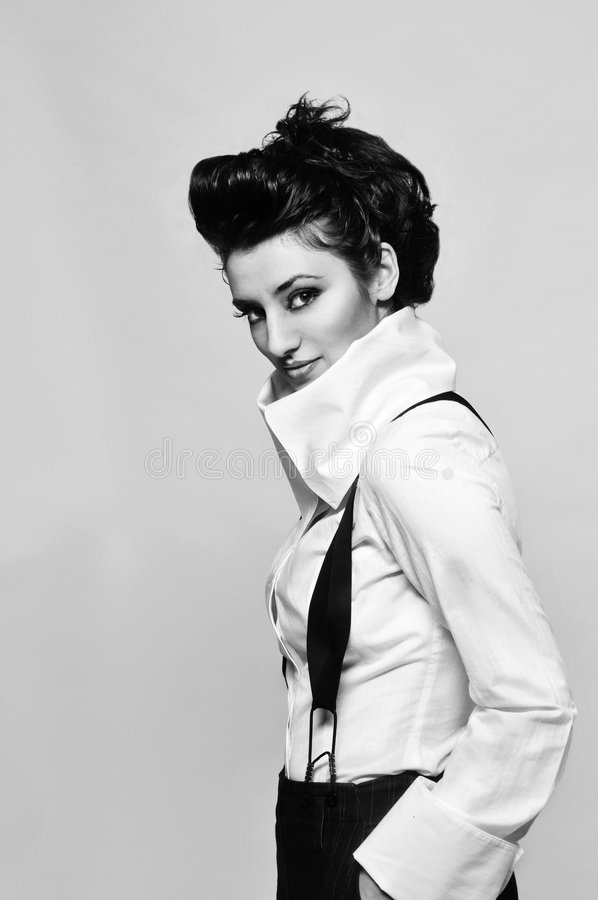 svart white för modemodell royaltyfri foto