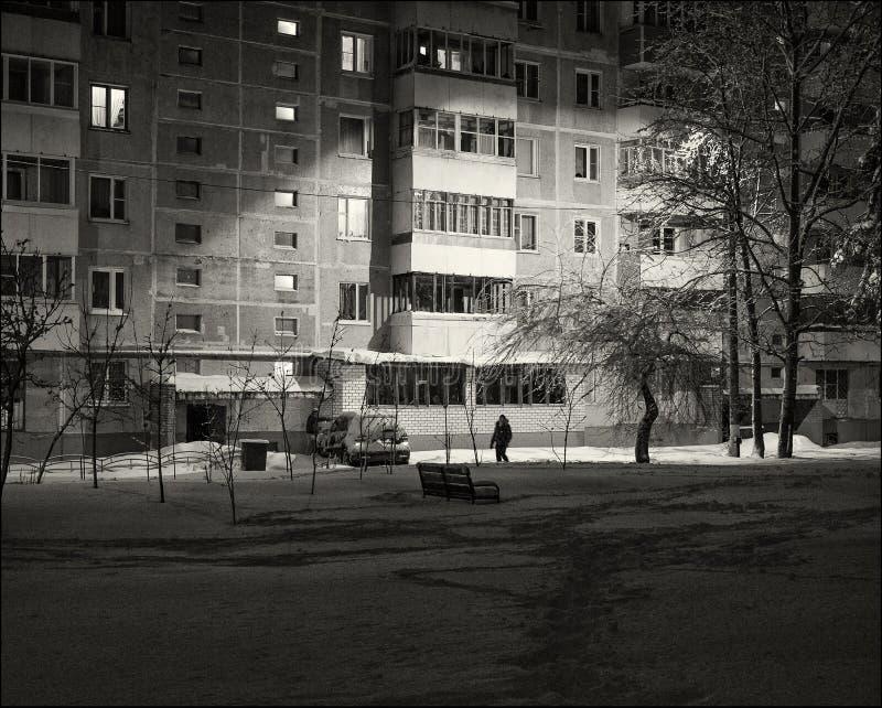 svart white Snö-täckt gård i en liten rysk stad arkivfoton