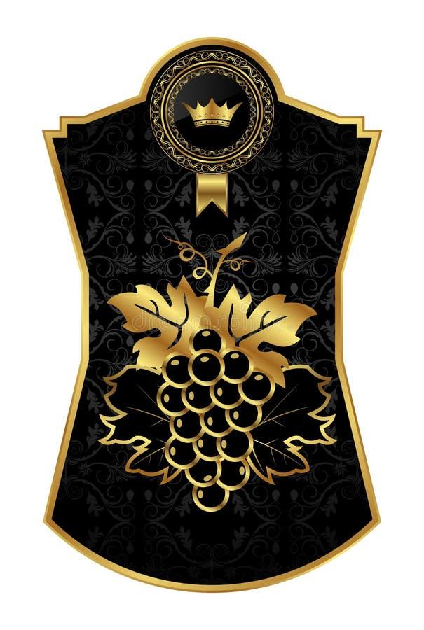svart wine för ramguldemballage vektor illustrationer