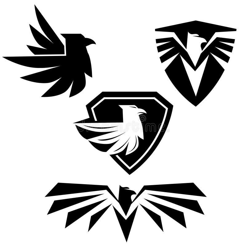 Svarta örnlogokonturer, emblem, symboler royaltyfri illustrationer