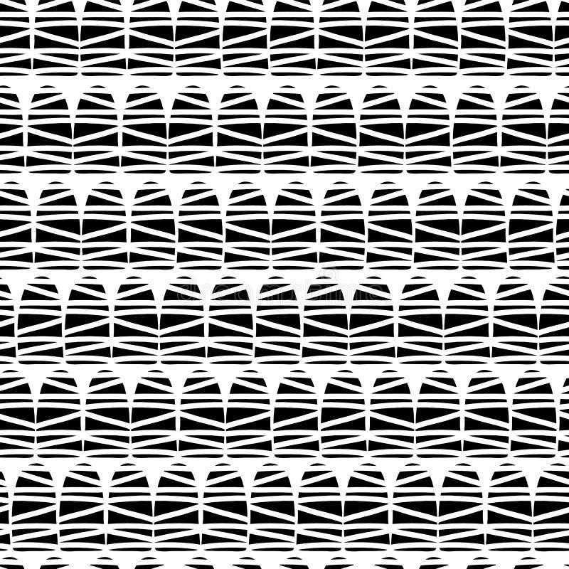 Svarta abstrakta klotterformer på en vit bakgrund Geometrisk sömlös vektormodell Monochrom modell Utmärkt för bakgrunder, royaltyfri illustrationer