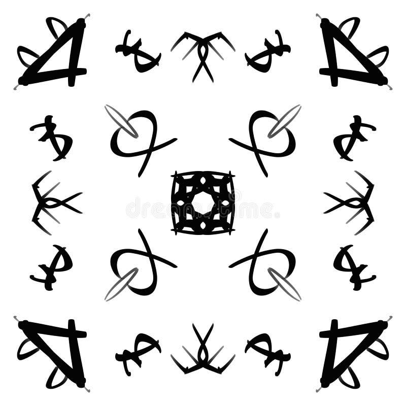 Svarta abstrakta symboler, grafiska symboler av fåglar, blommor och djur Symmetrisk design på en vit isolerad bakgrund stock illustrationer
