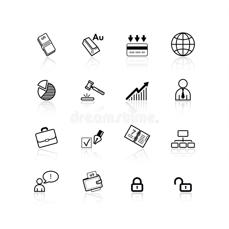 svarta affärssymboler stock illustrationer