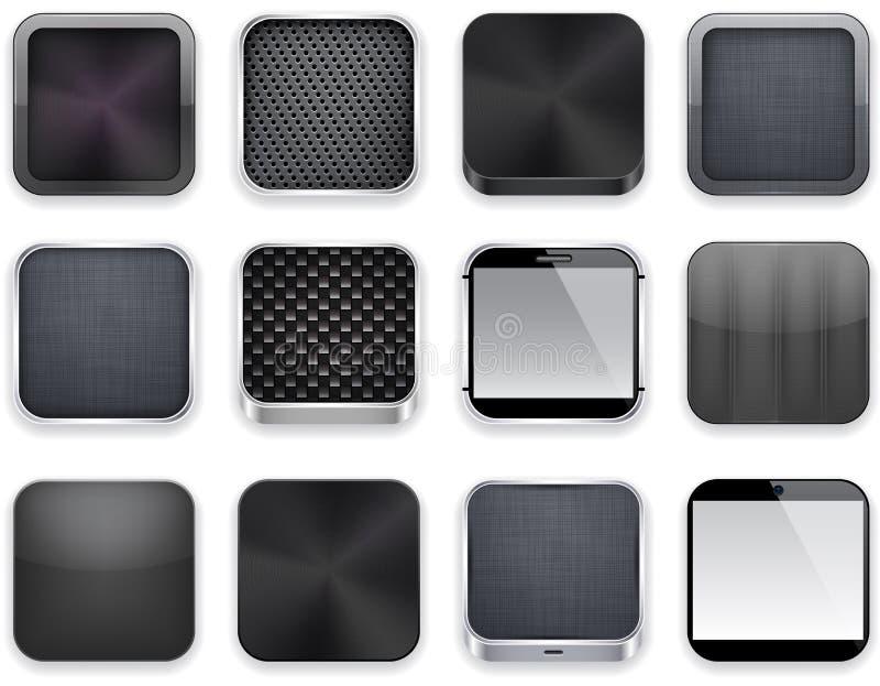 Svarta app-symboler. stock illustrationer