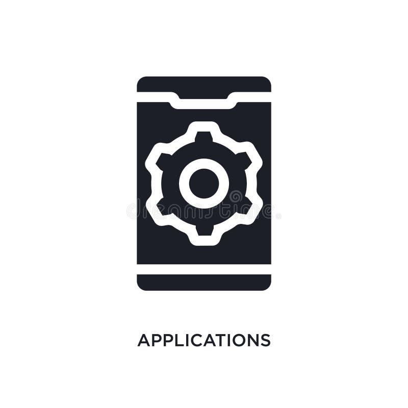 svarta applikationer isolerad vektorsymbol enkel beståndsdelillustration från mobila symboler för appbegreppsvektor redigerbara a vektor illustrationer
