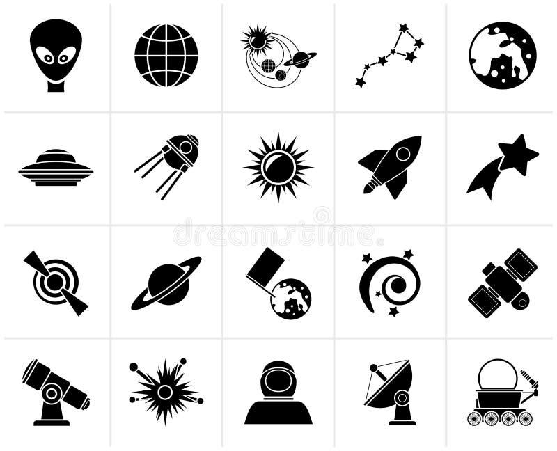 Svarta astronomi- och utrymmesymboler vektor illustrationer