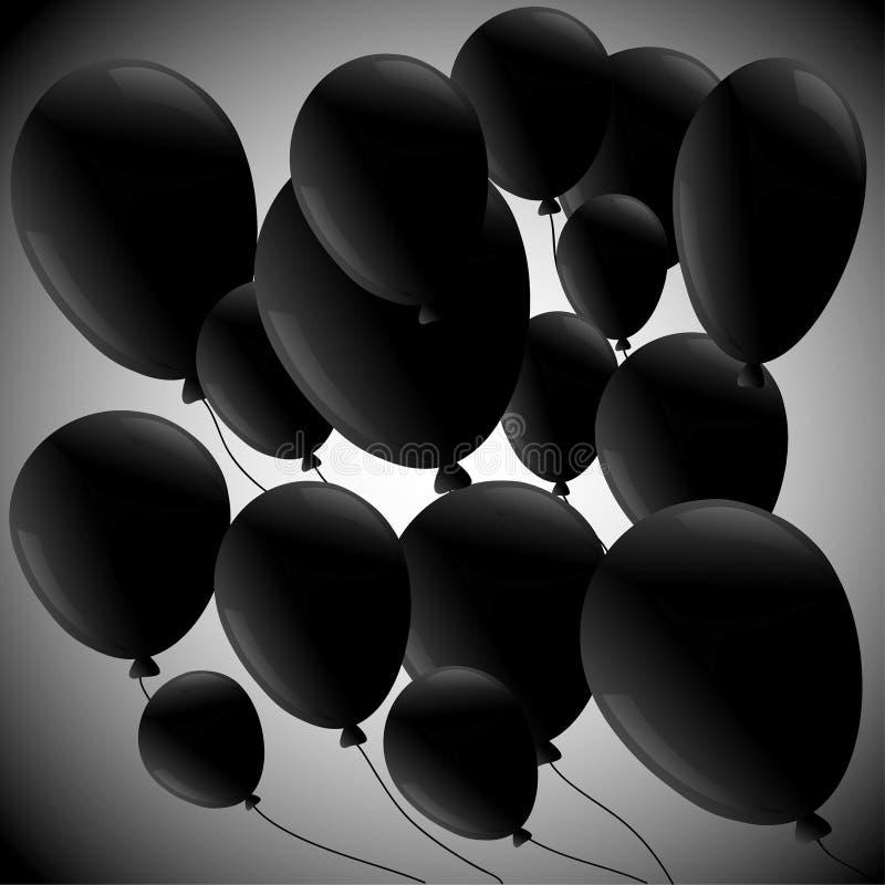 Svarta ballonger på grå bakgrund vektor illustrationer