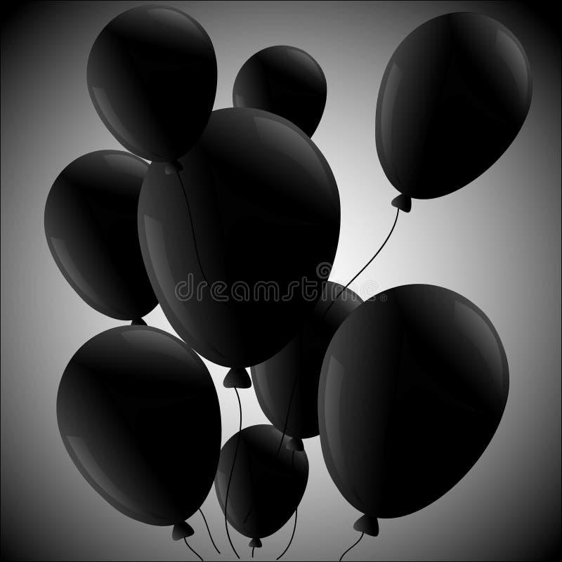 Svarta ballonger på ralial bakgrund stock illustrationer