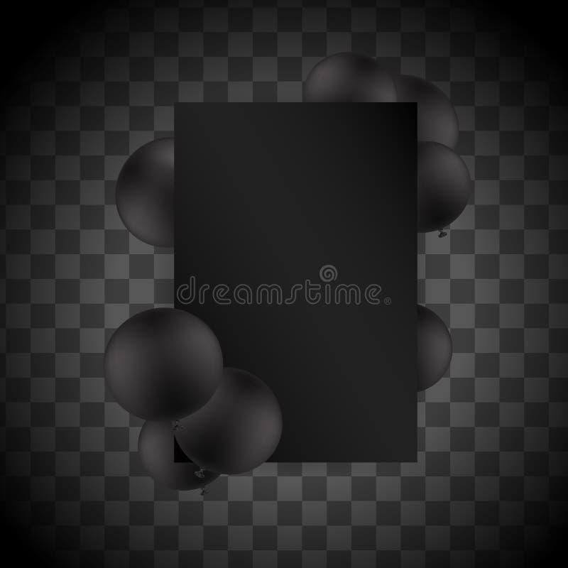 Svarta ballons på genomskinlig bakgrund med modellen den extra illustratören för ramen för Adobeeps-formatet inkluderar vektorn vektor illustrationer