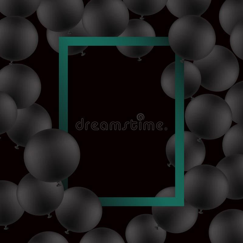 Svarta ballons på svart bakgrund med modellen den extra illustratören för ramen för Adobeeps-formatet inkluderar vektorn vektor illustrationer