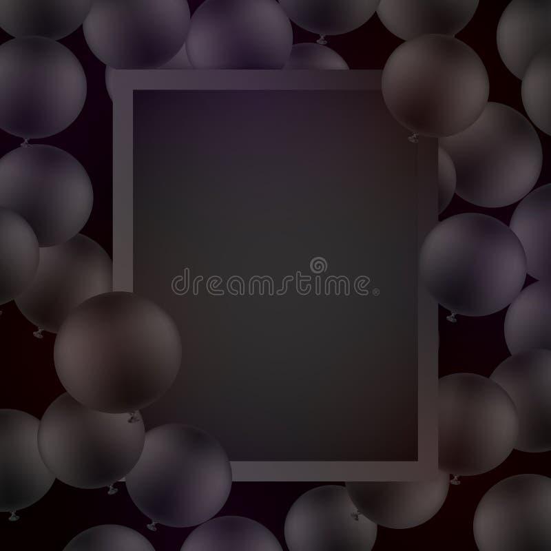 Svarta ballons på svart bakgrund med modellen den extra illustratören för ramen för Adobeeps-formatet inkluderar vektorn stock illustrationer