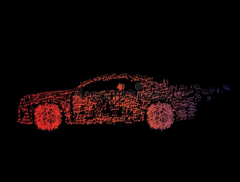 svarta bilmusikanmärkningar vektor illustrationer