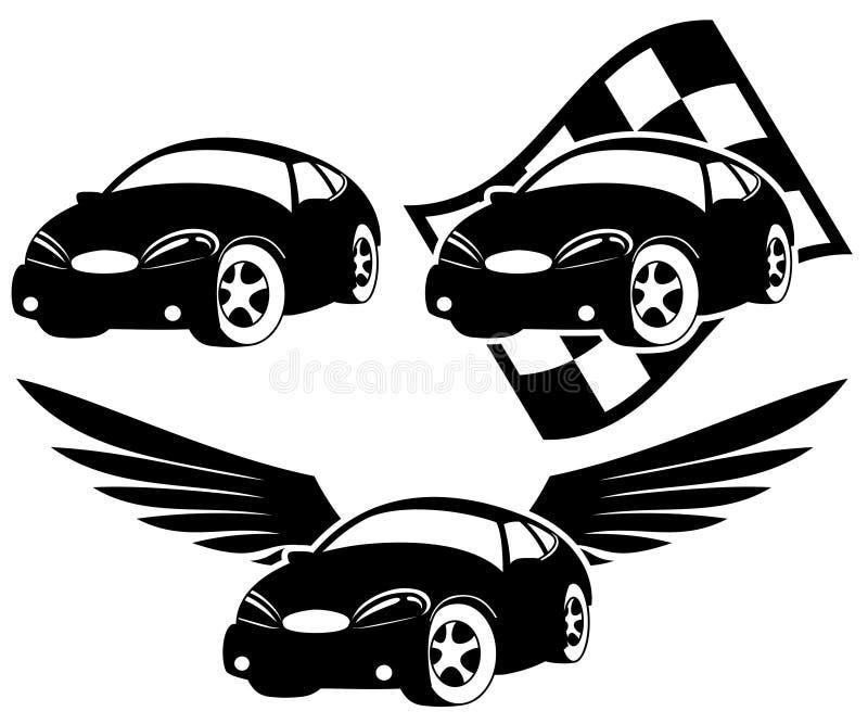 Svarta bilsymboler. royaltyfri illustrationer