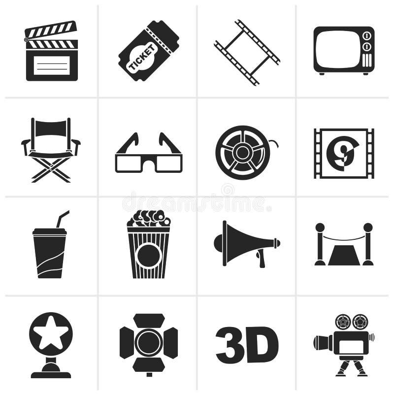Svarta bio- och filmsymboler stock illustrationer