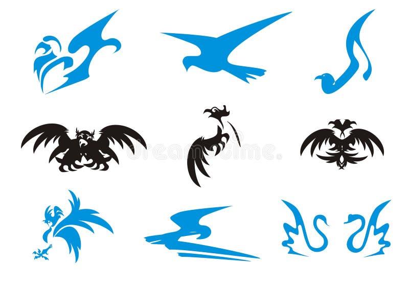 svarta blåa symboler för fåglar stock illustrationer