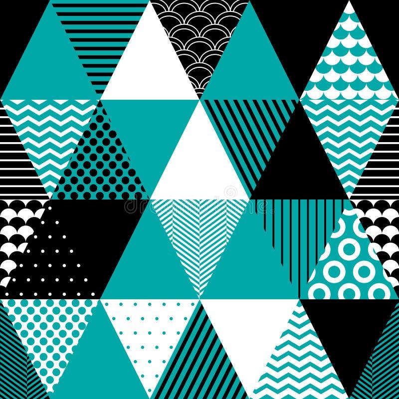 Svarta blått och vit texturerade trianglar den geometriska abstrakta sömlösa modellen, vektor stock illustrationer