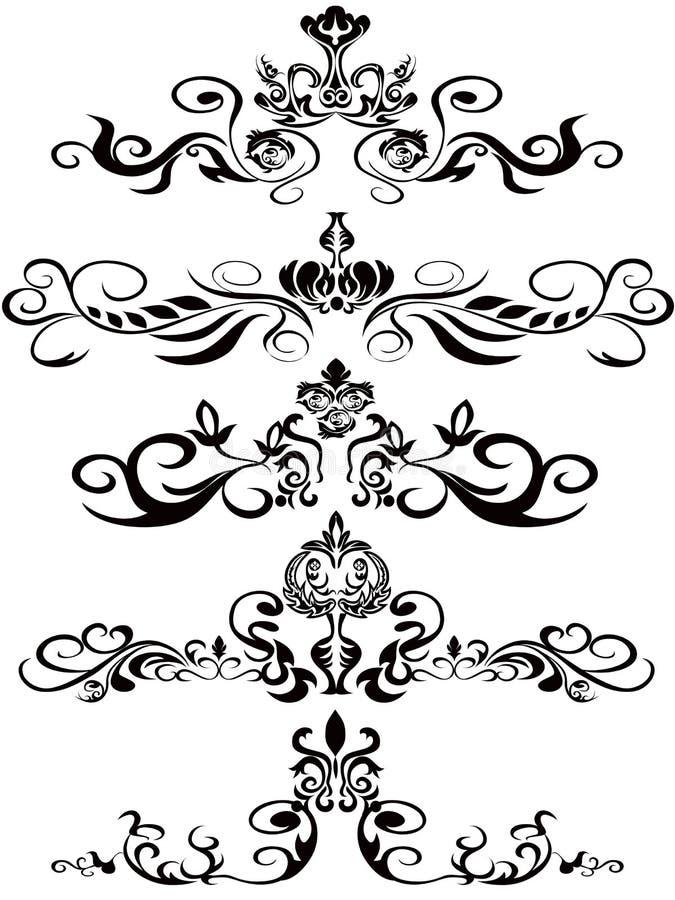 svarta blom- prydnadar royaltyfri illustrationer