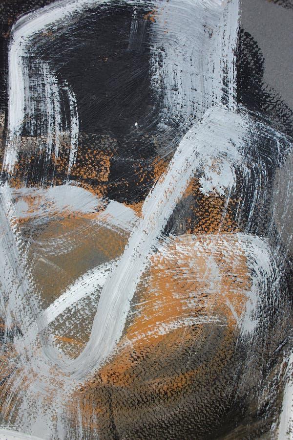 svarta bruna slaglängder på kanfas abstrakt konstbakgrund Färgtextur Fragment av konstverk abstrakt kanfasmålning royaltyfri illustrationer